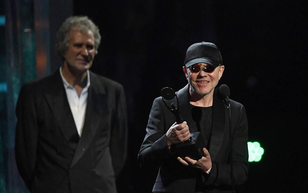 Inductee Guy Fletcher speaks during the Rock and Roll Hall of Fame induction ceremony, Saturday, April 14, 2018, in Cleveland. (AP Photo/David Richard)