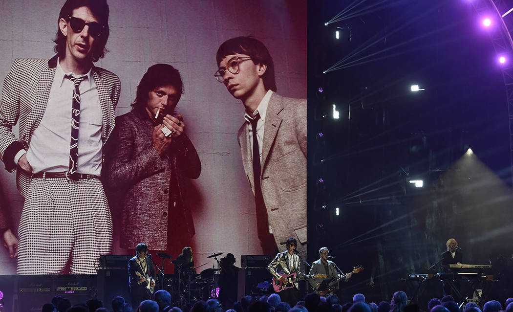 The Cars perform during the Rock and Roll Hall of Fame induction ceremony, Saturday, April 14, 2018, in Cleveland. (AP Photo/David Richard)