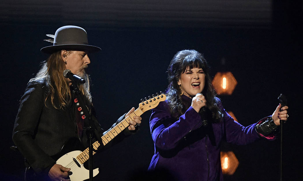 Jerry Cantrell, left, and Ann Wilson perform during the Rock and Roll Hall of Fame induction ceremony, Saturday, April 14, 2018, in Cleveland. (AP Photo/David Richard)