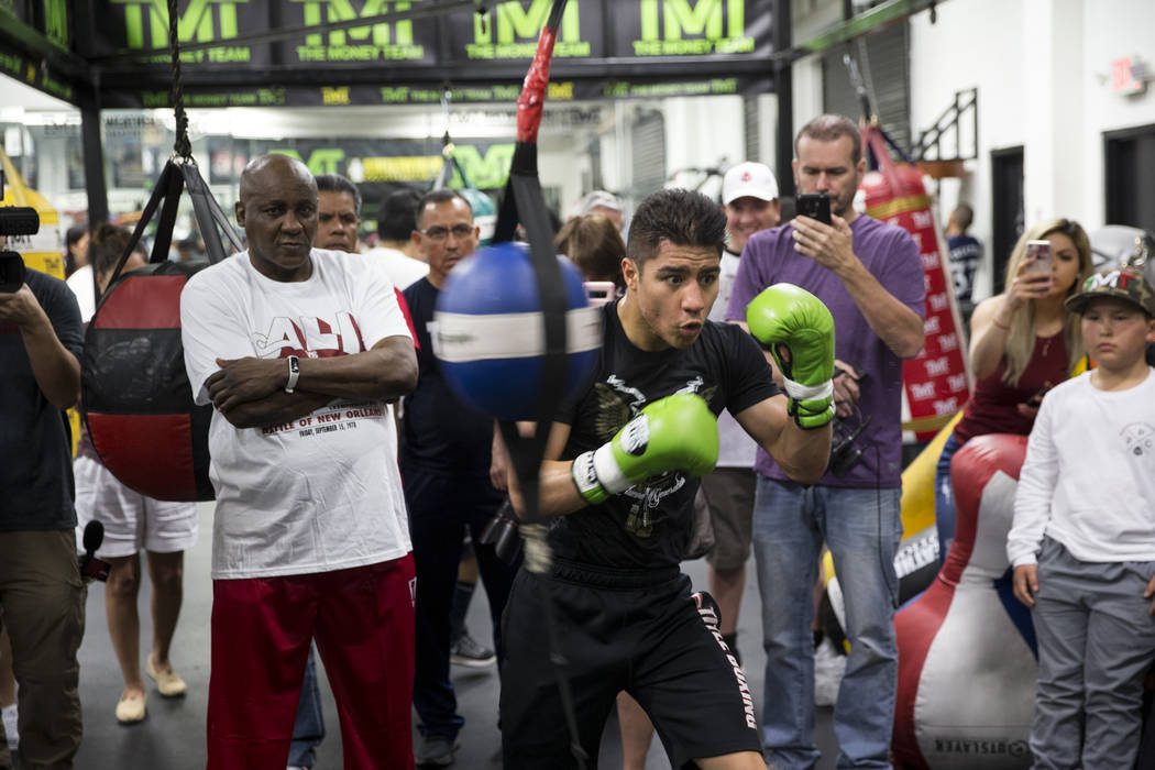 Jessie Vargas during a media workout event at the Mayweather Boxing Club in Las Vegas, Thursday, April 12, 2018. Vargas is scheduled to fight Adrien Broner on April 21 in New York. Las Vegas Revie ...