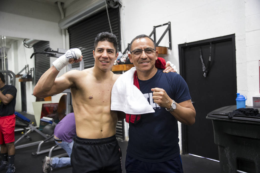 Jessie Vargas with his father Jose during a media workout event at the Mayweather Boxing Club in Las Vegas, Thursday, April 12, 2018. Vargas is scheduled to fight Adrien Broner on April 21 in New ...