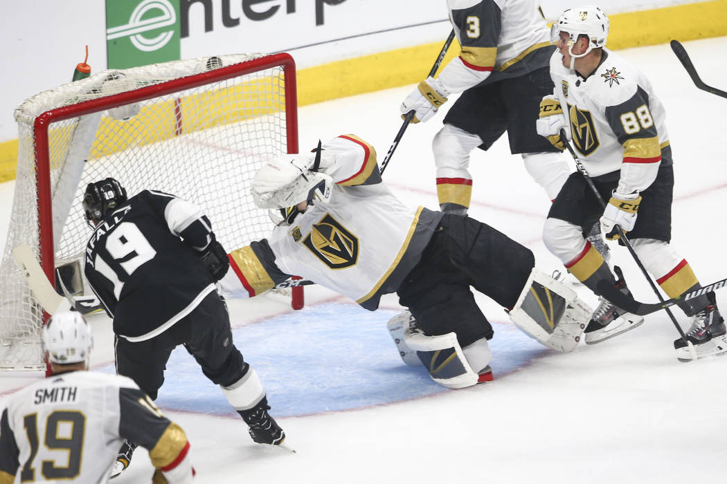 Los Angeles Kings center Alex Iafallo (19) scores past Golden Knights goaltender Marc-Andre Fleury (29) during the first period of Game 3 of an NHL hockey first-round playoff series at the Staples ...