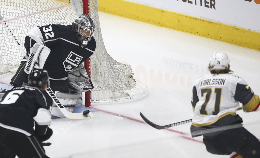Los Angeles Kings goaltender Jonathan Quick (32) blocks a shot from Golden Knights center William Karlsson (71) during the first period of Game 3 of an NHL hockey first-round playoff series at the ...