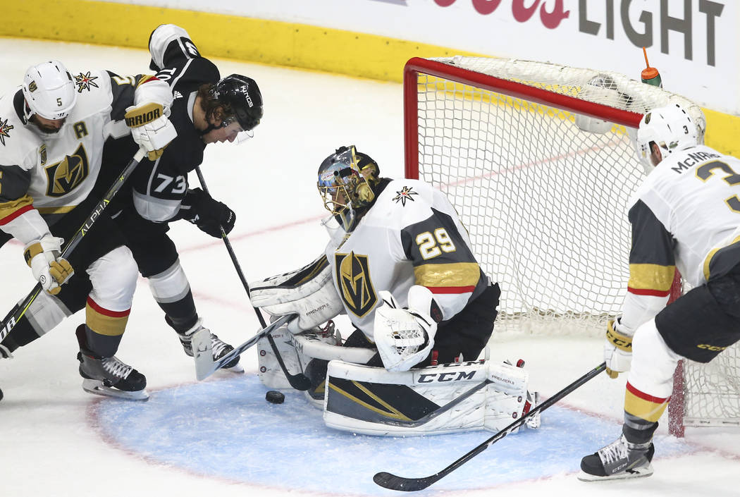 Golden Knights goaltender Marc-Andre Fleury (29) defends as Los Angeles Kings center Tyler Toffoli (73) attempts to score during the second period of Game 3 of an NHL hockey first-round playoff se ...
