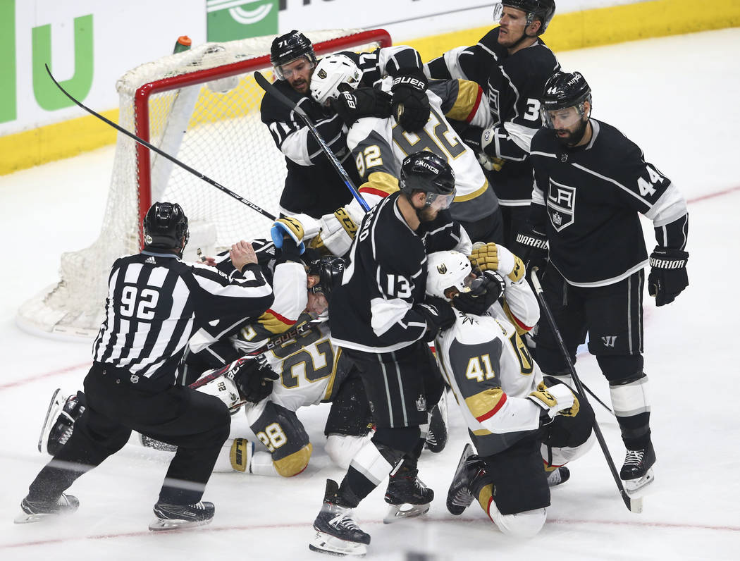 Golden Knights and Los Angeles Kings players get into a fight during the second period of Game 3 of an NHL hockey first-round playoff series at the Staples Center in Los Angeles on Sunday, April 1 ...