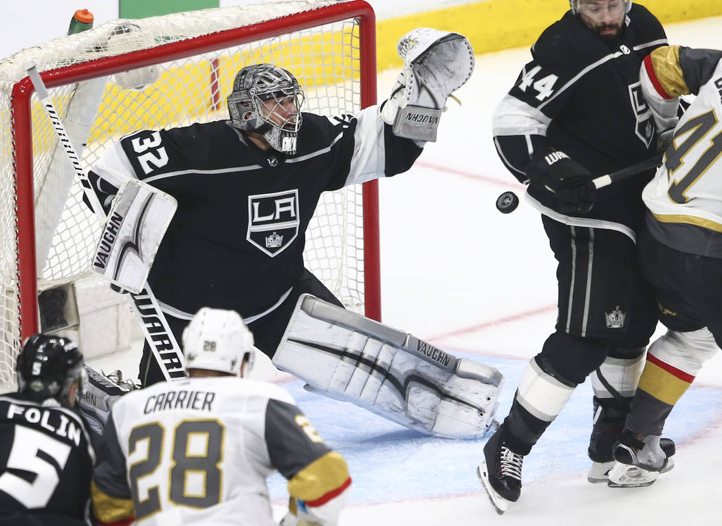 Los Angeles Kings goaltender Jonathan Quick (32) defends the net during the second period of Game 3 of an NHL hockey first-round playoff series against the Golden Knights at the Staples Center in ...