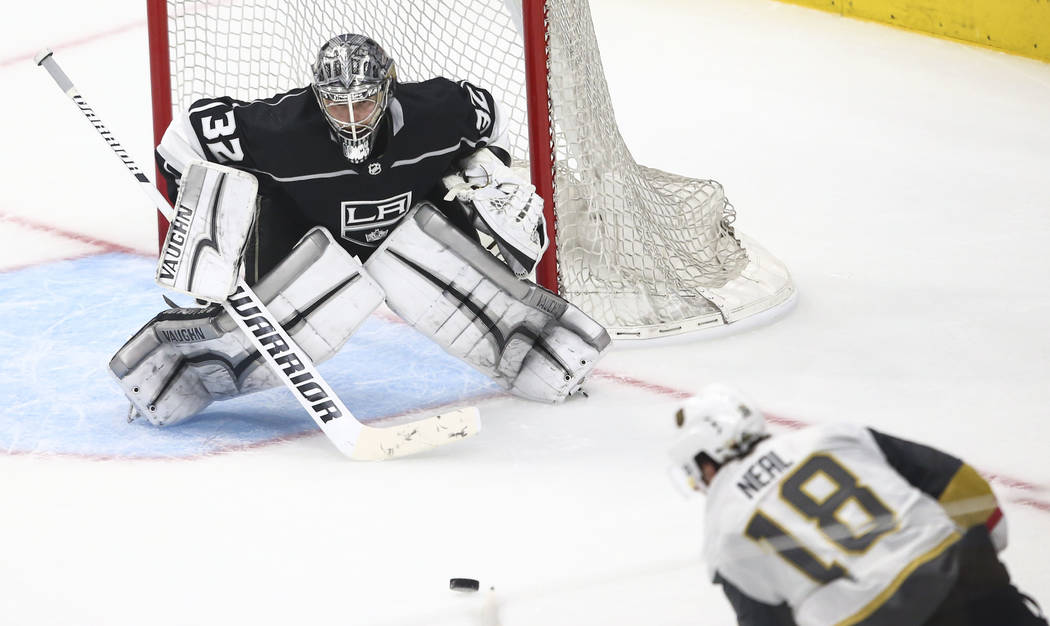 Golden Knights left wing James Neal (18) shoots to score a goal against Los Angeles Kings goaltender Jonathan Quick (32) during the third period of Game 3 of an NHL hockey first-round playoff seri ...