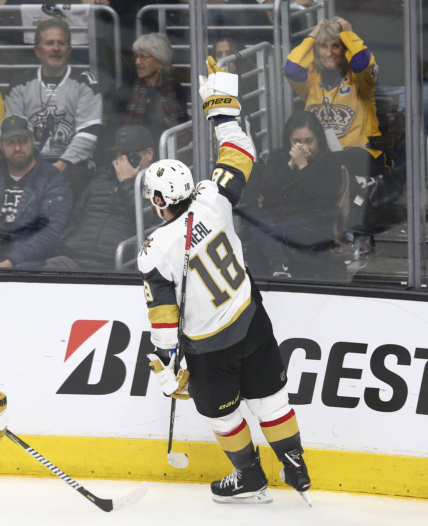 Golden Knights left wing James Neal (18) celebrates his goal against the Los Angeles Kings during the third period of Game 3 of an NHL hockey first-round playoff series at the Staples Center in Lo ...