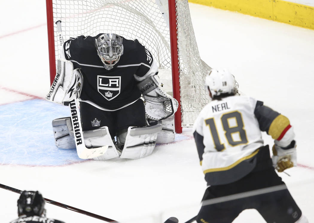 Golden Knights left wing James Neal (18) scores a goal against Los Angeles Kings goaltender Jonathan Quick (32) during the third period of Game 3 of an NHL hockey first-round playoff series at the ...