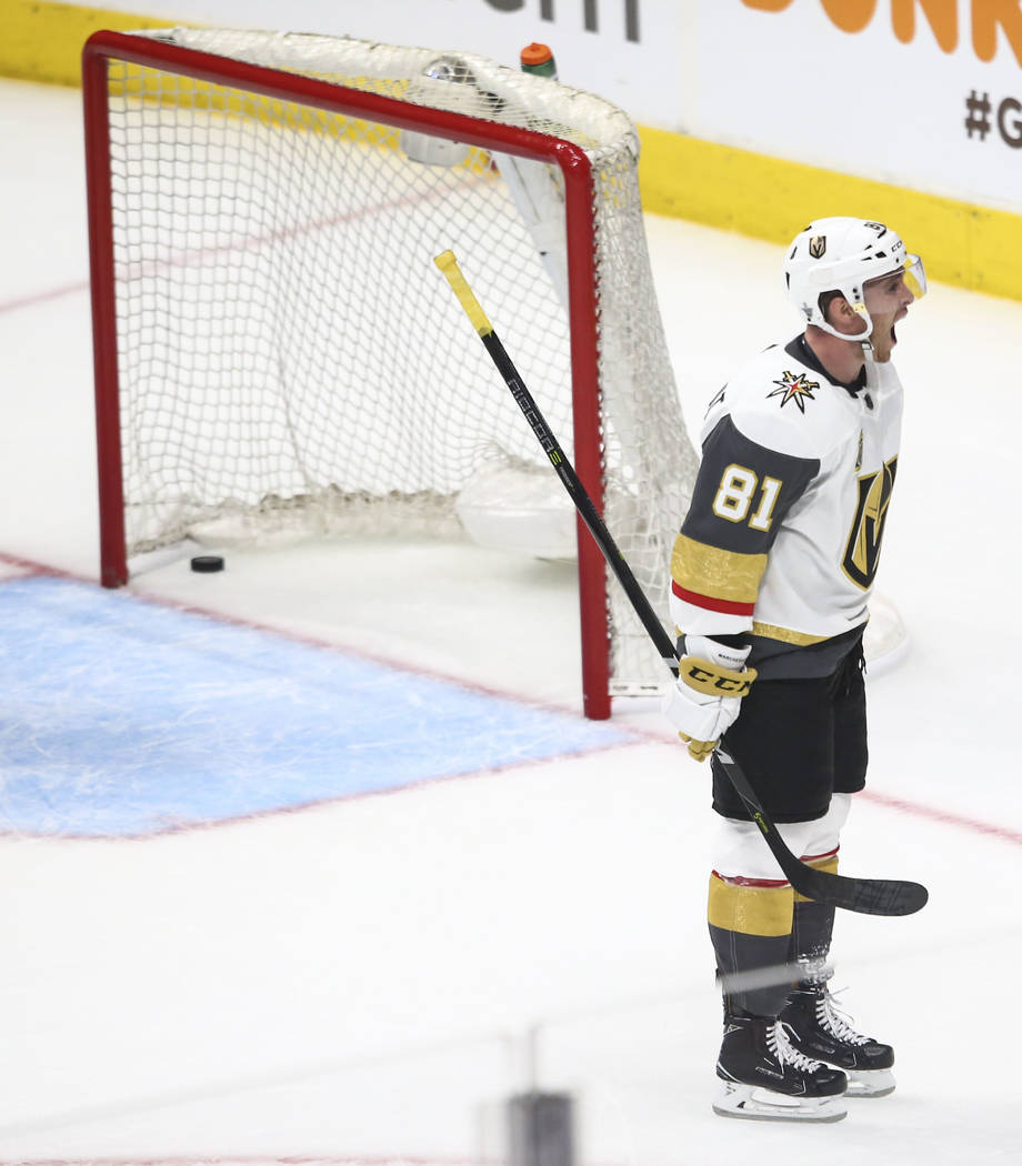 Golden Knights center Jonathan Marchessault (81) celebrates a goal by center William Karlsson (71) during the third period of Game 3 of an NHL hockey first-round playoff series against the Los Ang ...