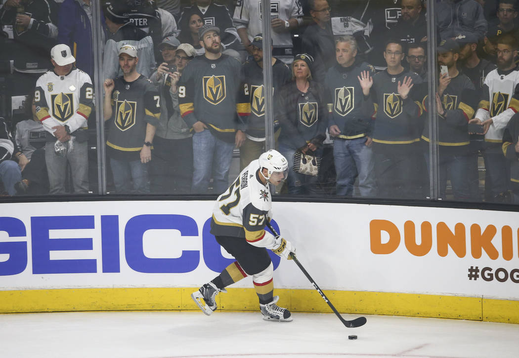 Golden Knights left wing David Perron (57) warms up before playing the Los Angeles Kings in an NHL hockey first-round playoff series at the Staples Center in Los Angeles on Sunday, April 15, 2018. ...