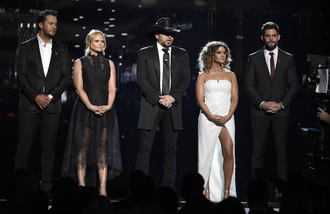 Luke Bryan, from left, Miranda Lambert, Jason Aldean, Maren Morris and Thomas Rhett speak at the 53rd annual Academy of Country Music Awards at the MGM Grand Garden Arena on Sunday, April 15, 2018 ...