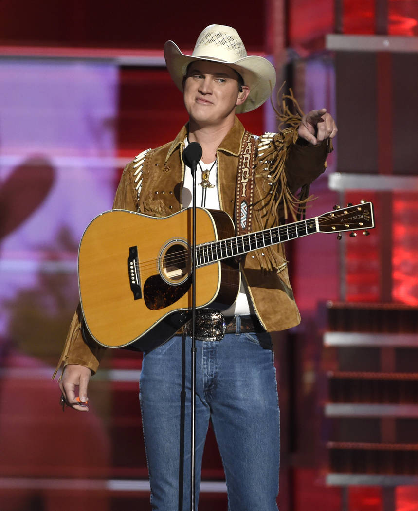 "Jon Pardi points to the crowd after performing ""Chattahoochee"" at the 53rd annual Academy of Country Music Awards at the MGM Grand Garden Arena on Sunday, April 15, 2018, in Las Vegas. ( ..."