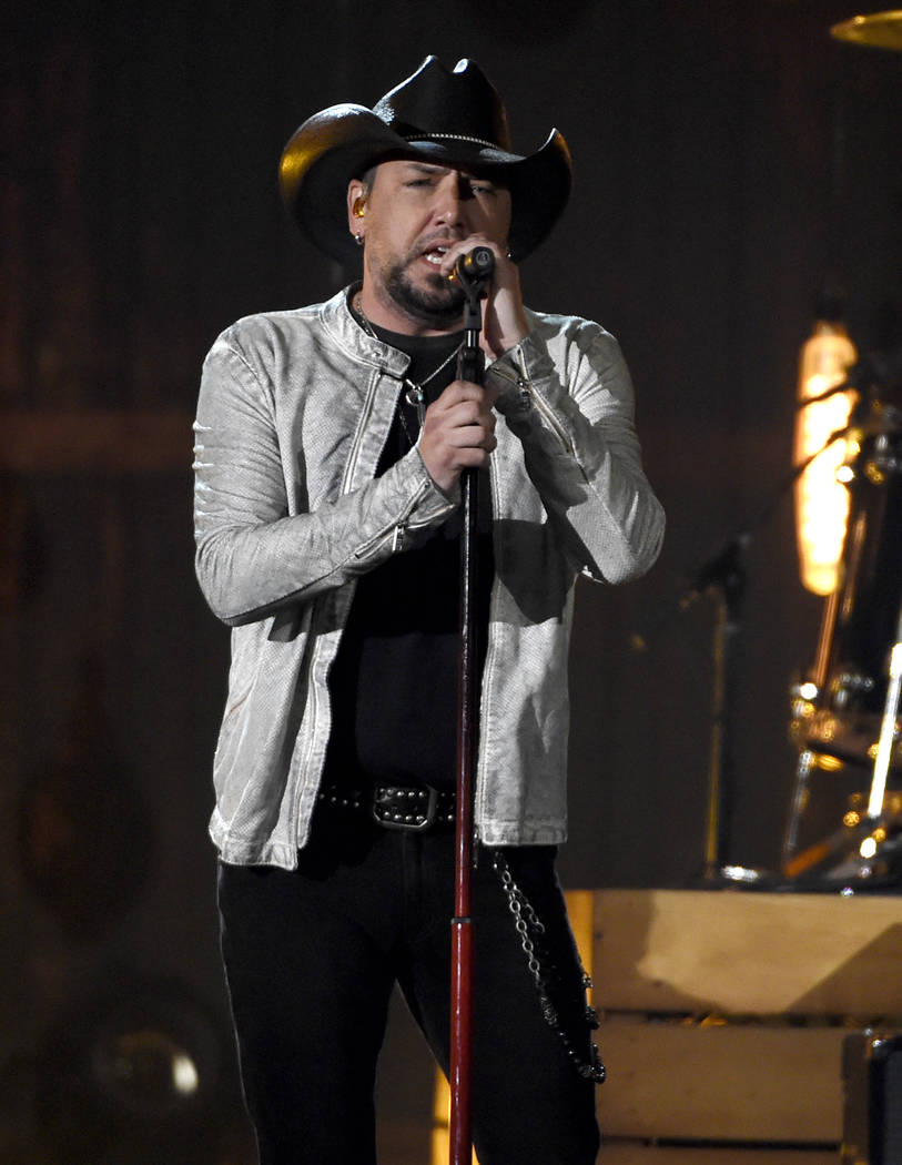 "Jason Aldean performs ""You Make It Easy"" at the 53rd annual Academy of Country Music Awards at the MGM Grand Garden Arena on Sunday, April 15, 2018, in Las Vegas. (Photo by Chris Pizzell ..."