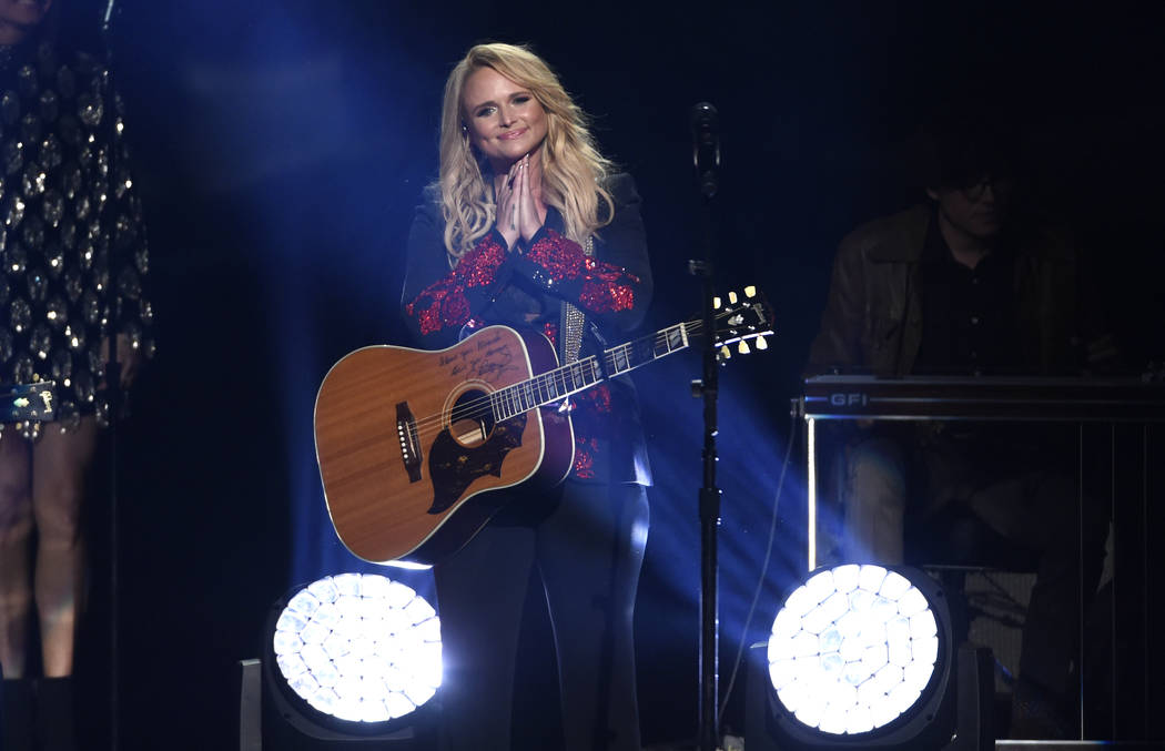 "Miranda Lambert performs ""Keeper of the Flame"" at the 53rd annual Academy of Country Music Awards at the MGM Grand Garden Arena on Sunday, April 15, 2018, in Las Vegas. (Photo by Chris P ..."
