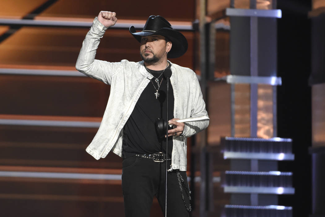 Jason Aldean accepts the award for entertainer of the year at the 53rd annual Academy of Country Music Awards at the MGM Grand Garden Arena on Sunday, April 15, 2018, in Las Vegas. (Photo by Chris ...