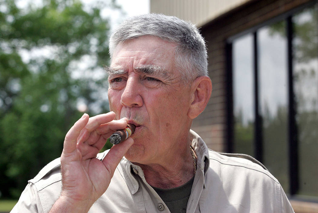 R. Lee Ermey smoking a cigarette (or weed)