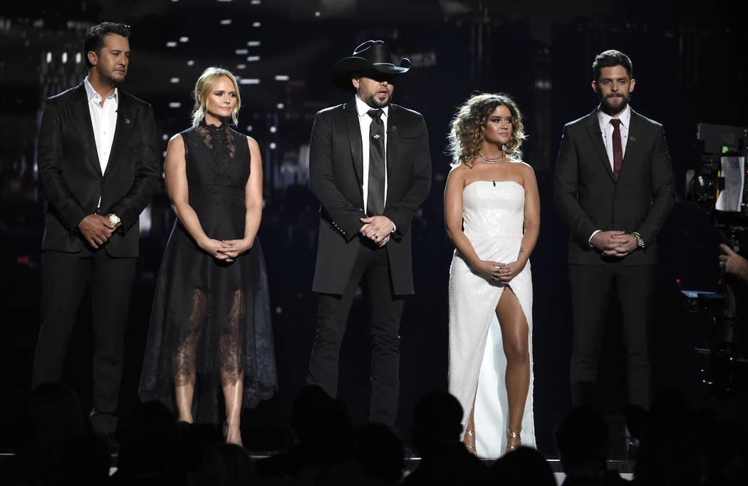 Luke Bryan, from left, Miranda Lambert, Jason Aldean, Maren Morris and Thomas Rhett speak at the 53rd annual Academy of Country Music Awards at the MGM Grand Garden Arena on Sunday, April 15, 2018 ...