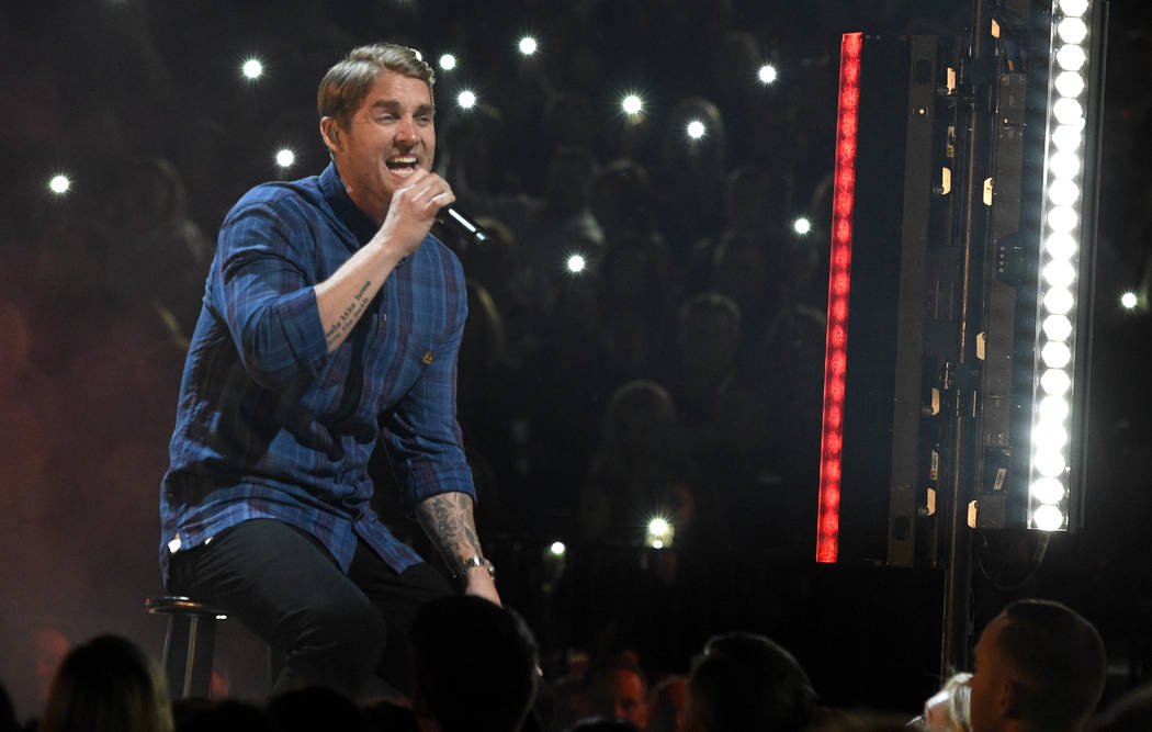 "Brett Young performs ""In Case You Didn't Know"" at the 53rd annual Academy of Country Music Awards at the MGM Grand Garden Arena on Sunday, April 15, 2018, in Las Vegas. (Photo by Chris P ..."