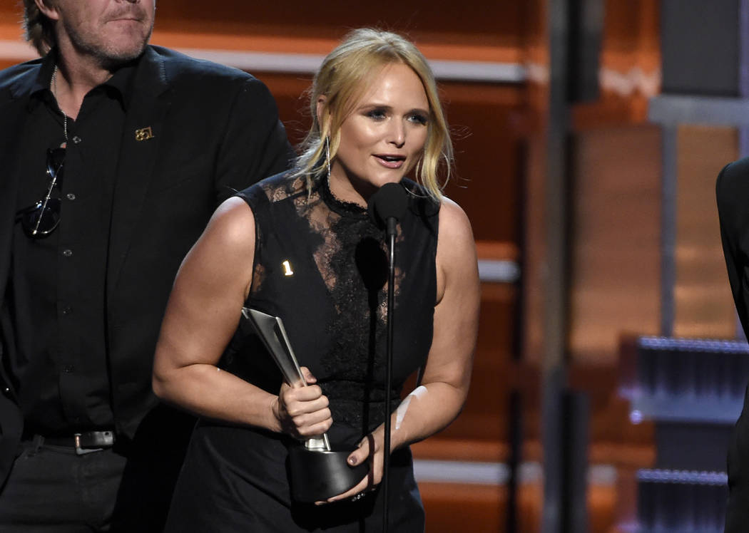 "Miranda Lambert accepts the award for song of the year for ""Tin Man"" at the 53rd annual Academy of Country Music Awards at the MGM Grand Garden Arena on Sunday, April 15, 2018, in Las Ve ..."