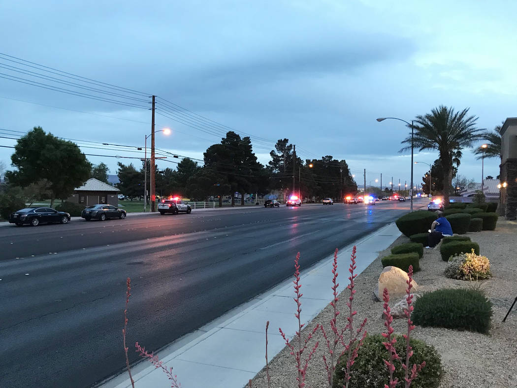 Las Vegas police investigate Sunday, April 15, 2018, after one person was killed and another was injured in a shooting at Sunset Park. (Blake Apgar/Las Vegas Review-Journal)