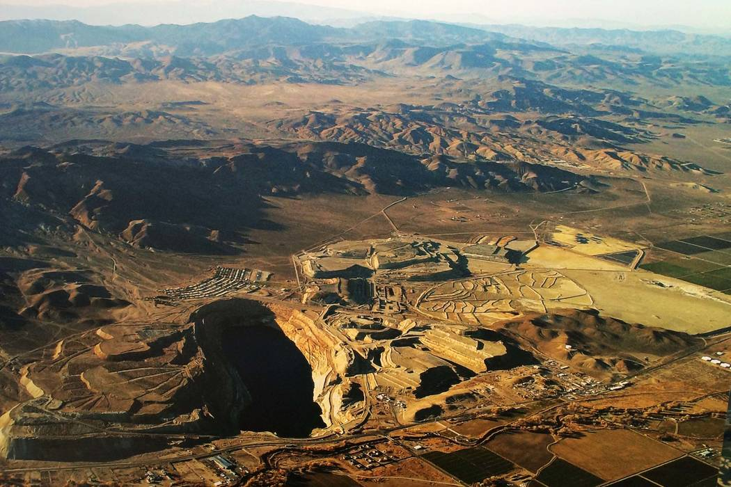 Aerial view of the abandoned Anaconda Copper Mine near Yerington. (Nevada Department of Conservation and Natural Resources)
