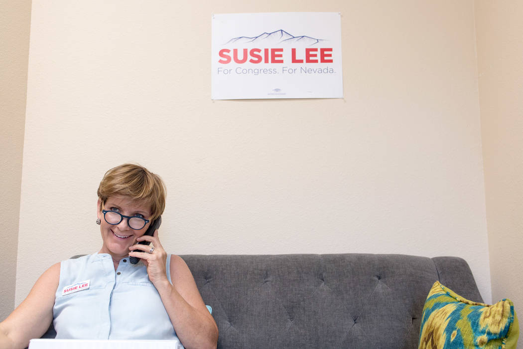 Las Vegas philanthropist Susie Lee makes phone calls on Saturday, June 11, 2016, urging people to vote in the primary election. (Elizabeth Brumley/Las Vegas Review-Journal)