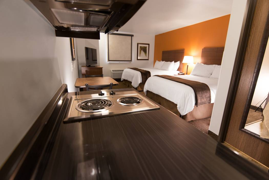 A My Place-branded hotel opened at 1440 E. Craig Road in North Las Vegas. Rooms feature a two-burner cooktop, microwave and full refrigerator. My Place Hotels of America