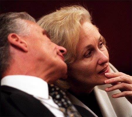 John Momot confers with Margaret Rudin during her trial in 2001. (Jeff Scheid/Las Vegas Review-Journal)