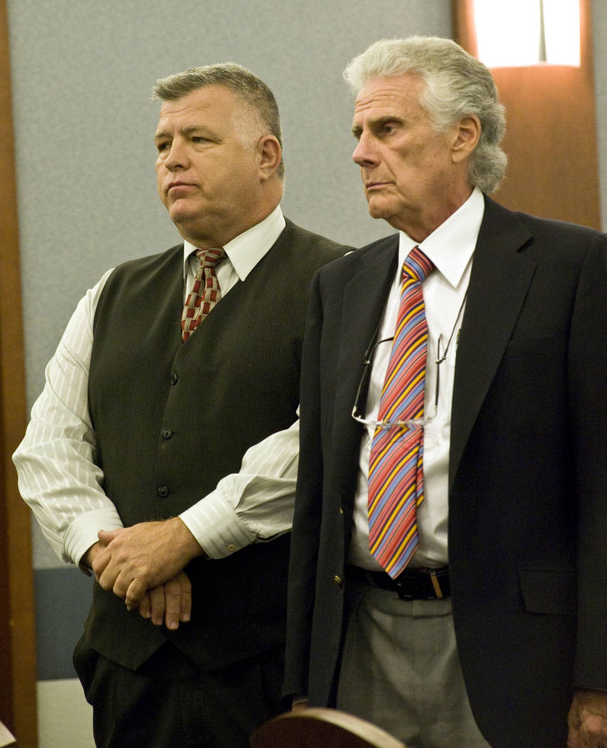 William Gilbert, left, stands next to his attorney John Momot in 2010. (Jerry Henkel/Las Vegas Review-Journal)