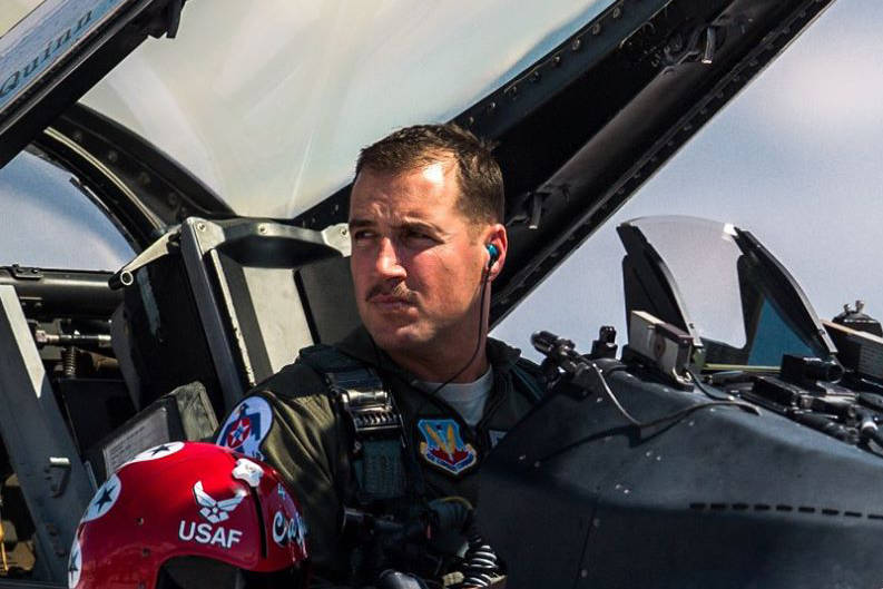 Maj. Stephen Del Bagno, Thunderbird 4/Slot Pilot, awaits the signal to start the F-16 Fighting Falcon during a practice show at Nellis Air Force Base on March 14, 2018. Del Bagno was killed when h ...