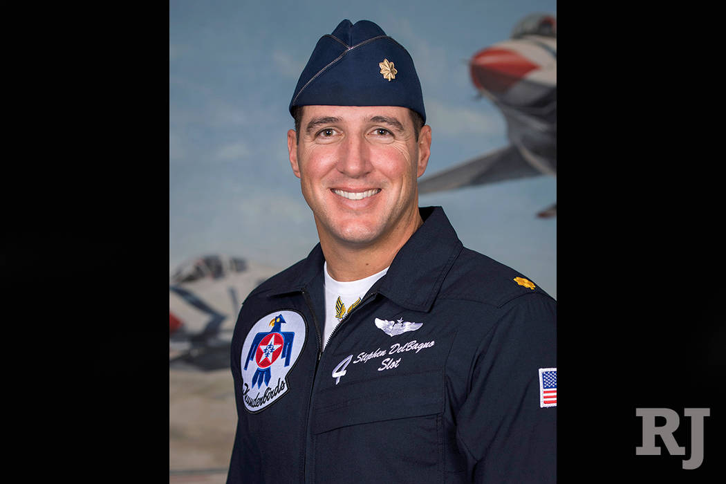 Maj. Stephen Del Bagno died when his F-16 Fighting Falcon jet crashed during routine training on the Nevada Test and Training Range about 10:30 a.m. April 4, 2018, military officials said. (fthund ...