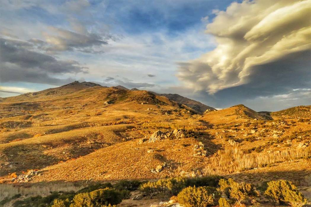 Clouds build over the Ruby Mountains of Northern Nevada, where the U.S. Forest Service is studying whether 54,000 acres should be opened up for oil and gas exploration. Patrick Donnelly/Center for ...
