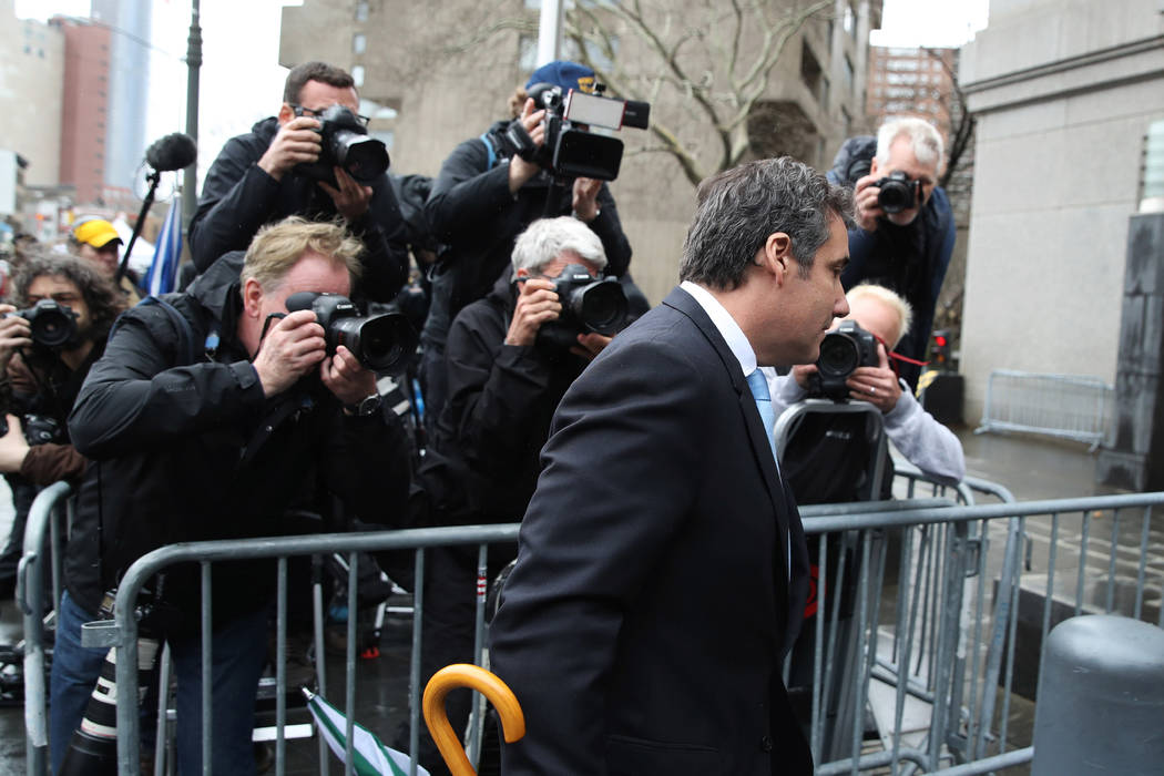 Michael Cohen, President Donald Trump's personal attorney, arrives at federal court, Monday, April 16, 2018, in New York. A U.S. judge will hear more arguments about Trump's extraordinary request ...