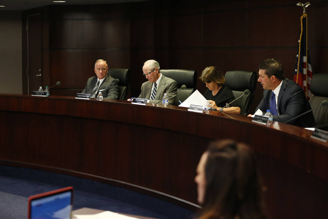 Nevada Athletic Commission members from left, Bob Bennett, Christopher Ault, Staci Alonso and Anthony Marnell III, during a Nevada Athletic Commission meeting at the Grant Sawyer State Office Buil ...