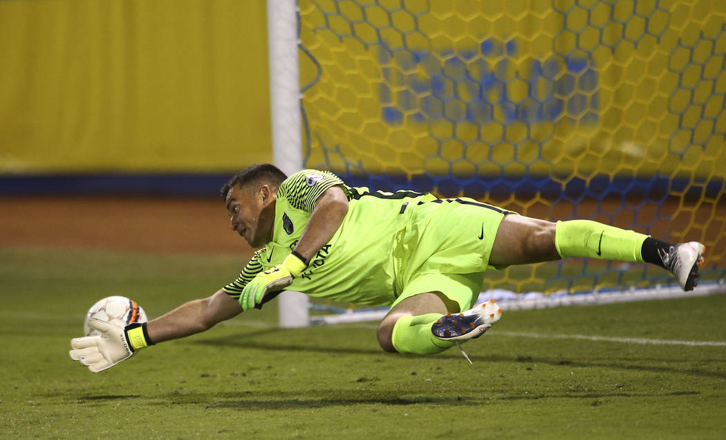 Las Vegas Lights FC midfielder Carlos Alvarez, not pictured, scores a goal past San Antonio FC goalkeeper Diego Restrepo (24) during the second half of a United Soccer League game at Cashman Field ...