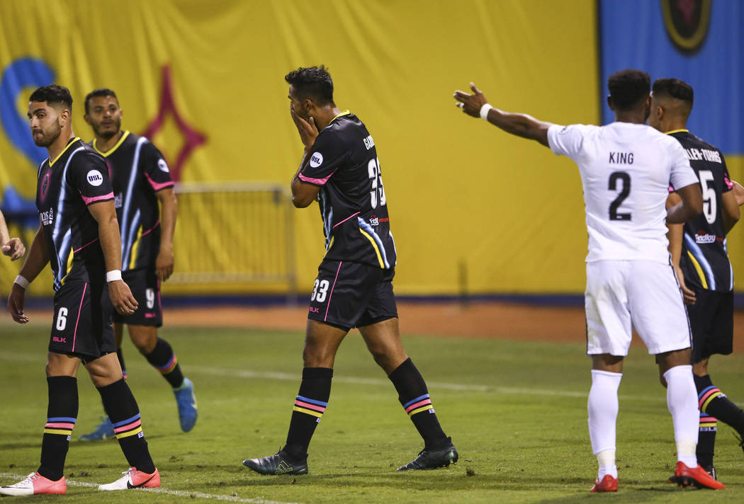 Las Vegas Lights FC defender Miguel Garduño (33) reacts after nearly scoring against San Antonio FC during the second half of a United Soccer League game at Cashman Field in Las Vegas on ...