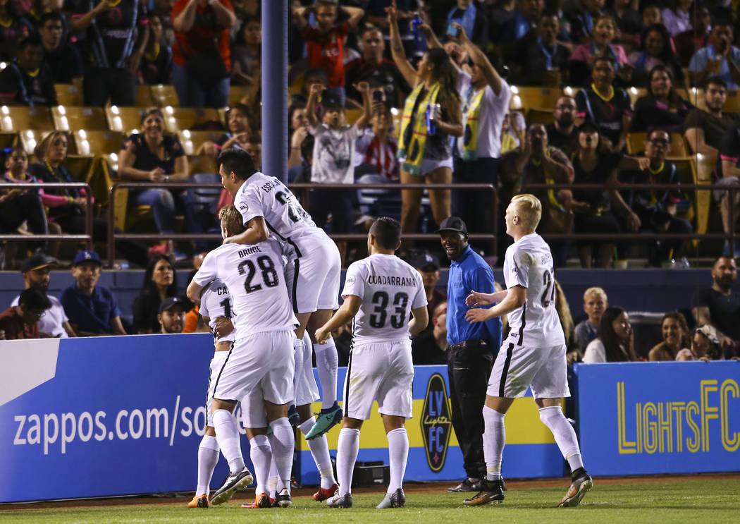 San Antonio FC players celebate a goal against the Las Vegas Lights FC during the second half of a United Soccer League game at Cashman Field in Las Vegas on Friday, April 27, 2018. Chase Stevens ...
