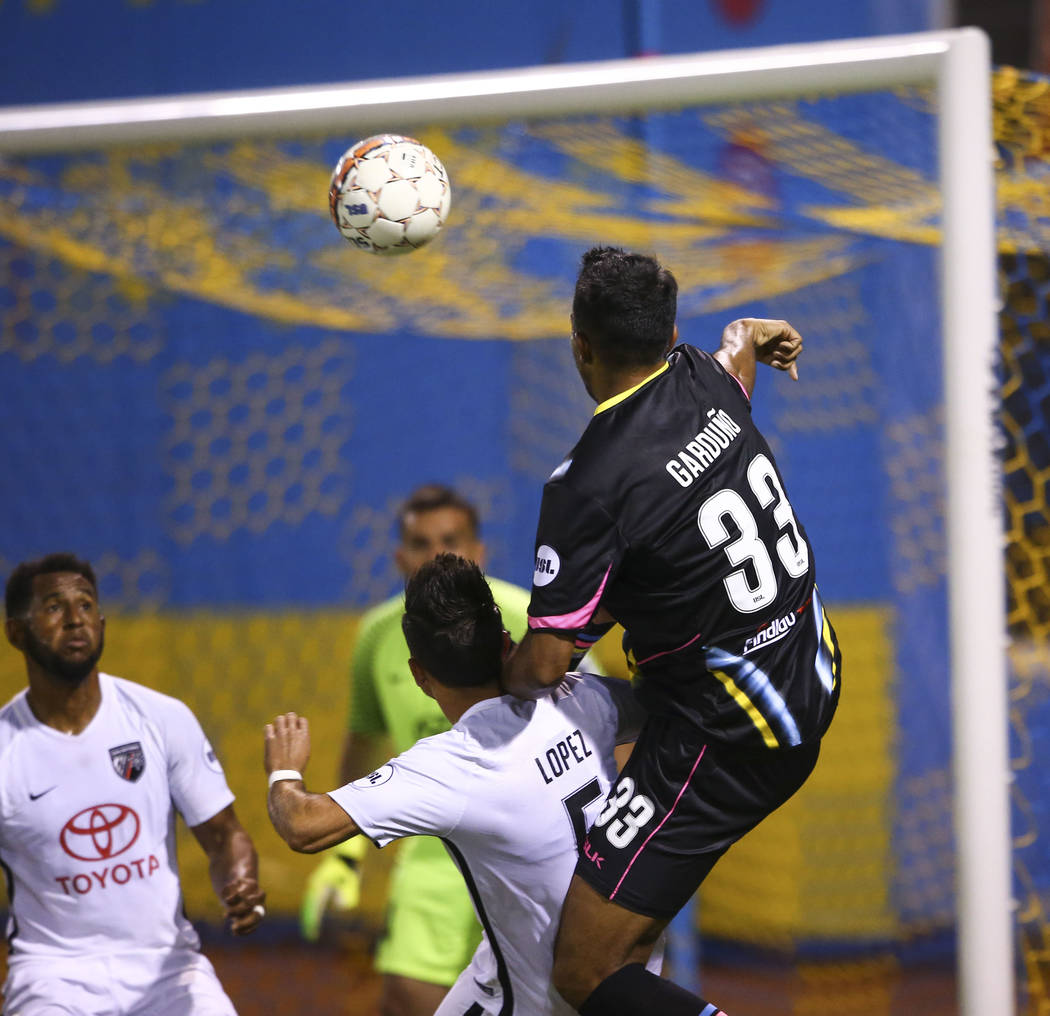 Las Vegas Lights FC defender Miguel Garduño (33) attempts to score by heading the ball against San Antonio FC during the second half of a United Soccer League game at Cashman Field ...