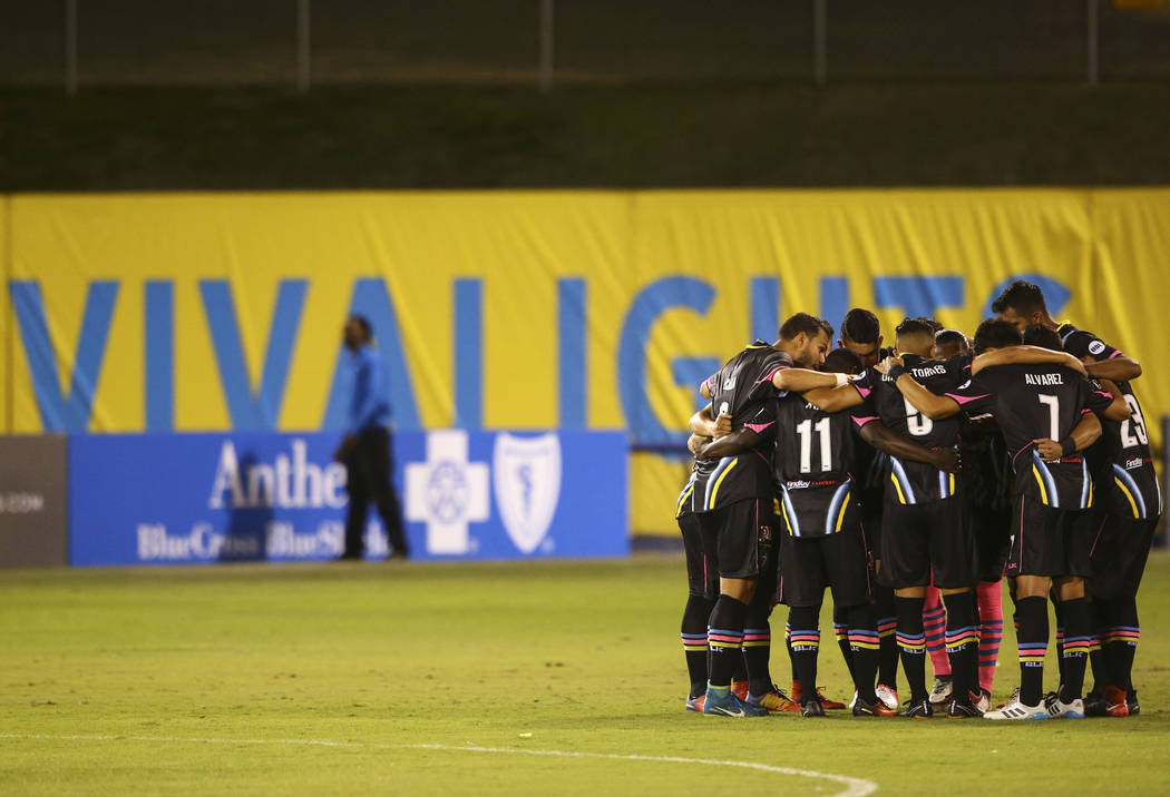 Las Vegas Lights FC players huddle before playing San Antonio FC in a United Soccer League game at Cashman Field in Las Vegas on Friday, April 27, 2018. Chase Stevens Las Vegas Review-Journal @css ...