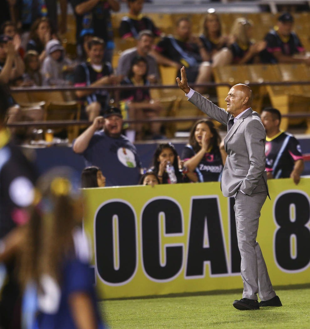 "Las Vegas Lights FC technical director Jose Luis Sanchez Sola ""Chelis"" is introduced before a United Soccer League game against San Antonio FC at Cashman Field in Las Vegas on Friday, Ap ..."