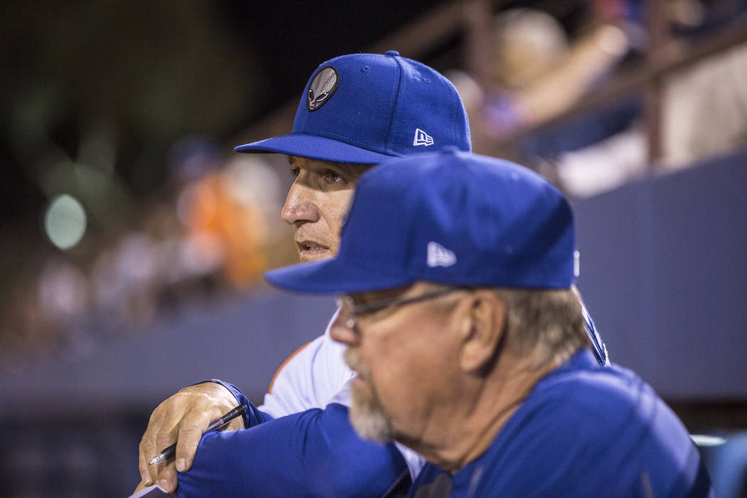 51s manager Tony DeFrancesco, left, watches his team play defense during Las Vegas' home matchup with the El Paso Chihuahuas on Monday, April 9, 2018, at Cashman Field, in Las Vegas. Benjamin Hage ...