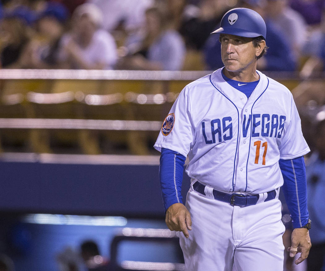 51s manager Tony DeFrancesco takes the field during Las Vegas' home matchup with the El Paso Chihuahuas on Monday, April 9, 2018, at Cashman Field, in Las Vegas. Benjamin Hager Las Vegas Review-Jo ...