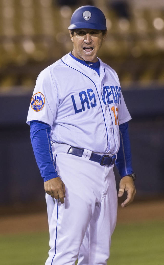 51s manager Tony DeFrancesco signals his batter during Las Vegas' home matchup with the El Paso Chihuahuas on Monday, April 9, 2018, at Cashman Field, in Las Vegas. Benjamin Hager Las Vegas Review ...