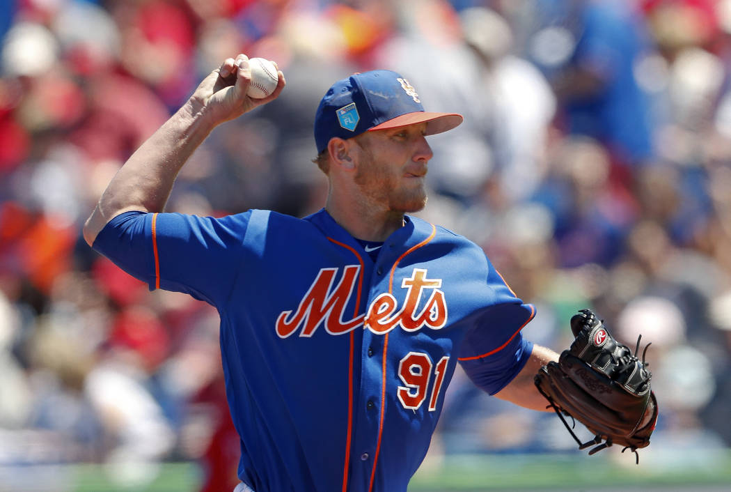 New York Mets pitcher Drew Gagnon works in the first inning of a spring training baseball game against the St. Louis Cardinals, Friday, March 23, 2018, in Port St. Lucie, Fla. St. Louis won 5-1. ( ...