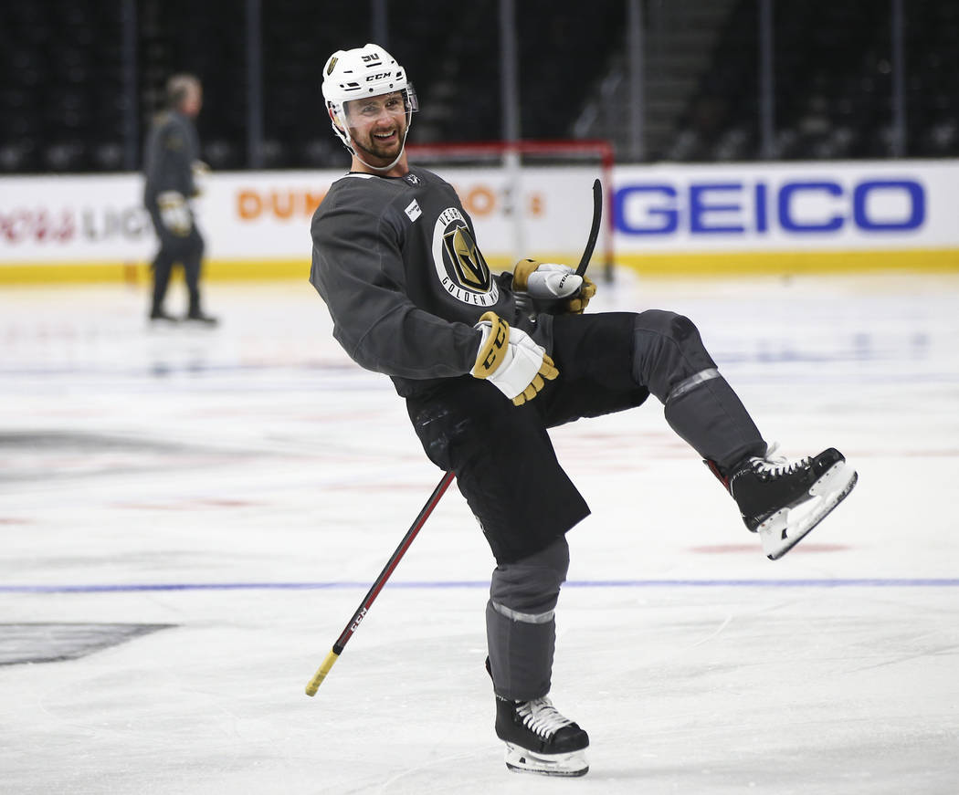 f9a950a3e Golden Knights left wing Tomas Tatar reacts during practice ahead of Game 4  against the Los