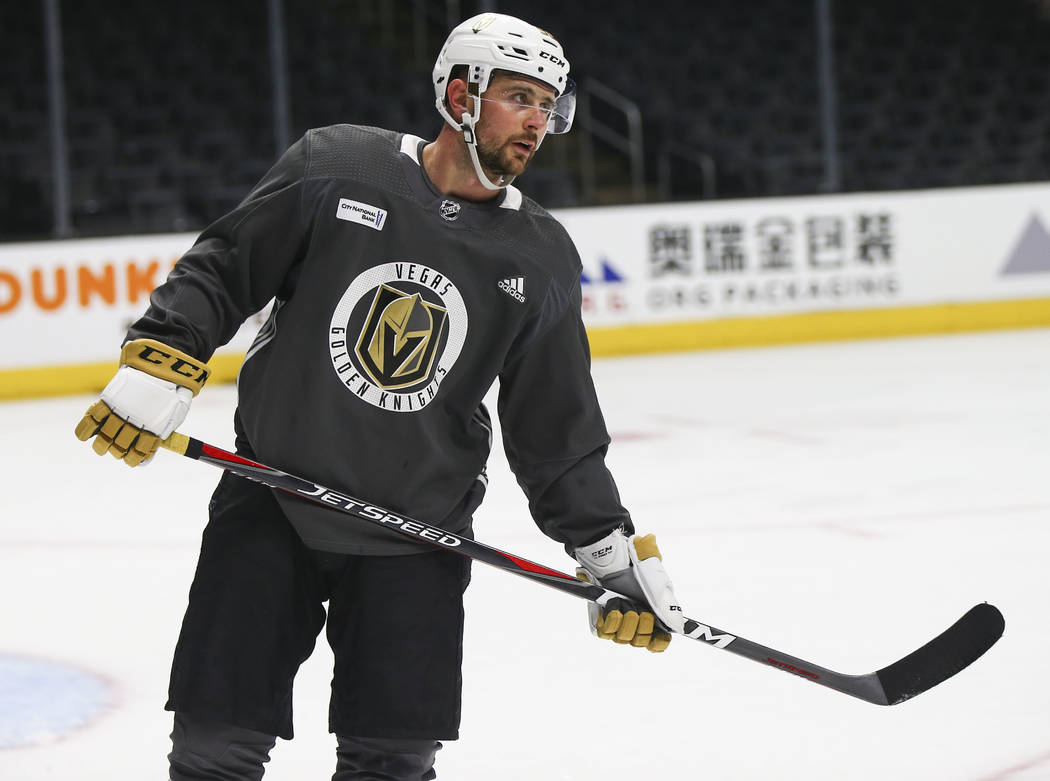 Golden Knights left wing Tomas Tatar during practice ahead of Game 4 against the Los Angeles Kings, slated for Tuesday, at the Staples Center in Los Angeles on Monday, April 16, 2018. Chase Steven ...