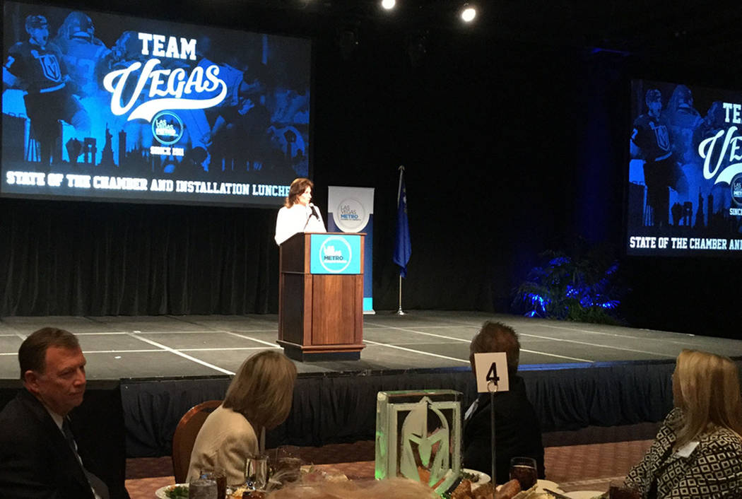 Las Vegas Metro Chamber of Commerce CEO Mary Beth Sewald addresses a crowd of about 600 business community members Wednesday, Dec. 13, 2017 at MGM Grand in Las Vegas, during the Chamber's Installa ...