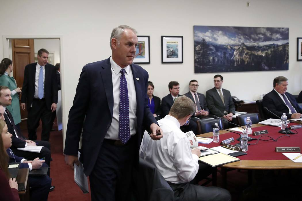 Interior Secretary Ryan Zinke arrives to testify on the 2019 budget during a hearing of the House Appropriations Committee Subcommittee on Interior, Environment, and Related Agencies, on Capitol H ...