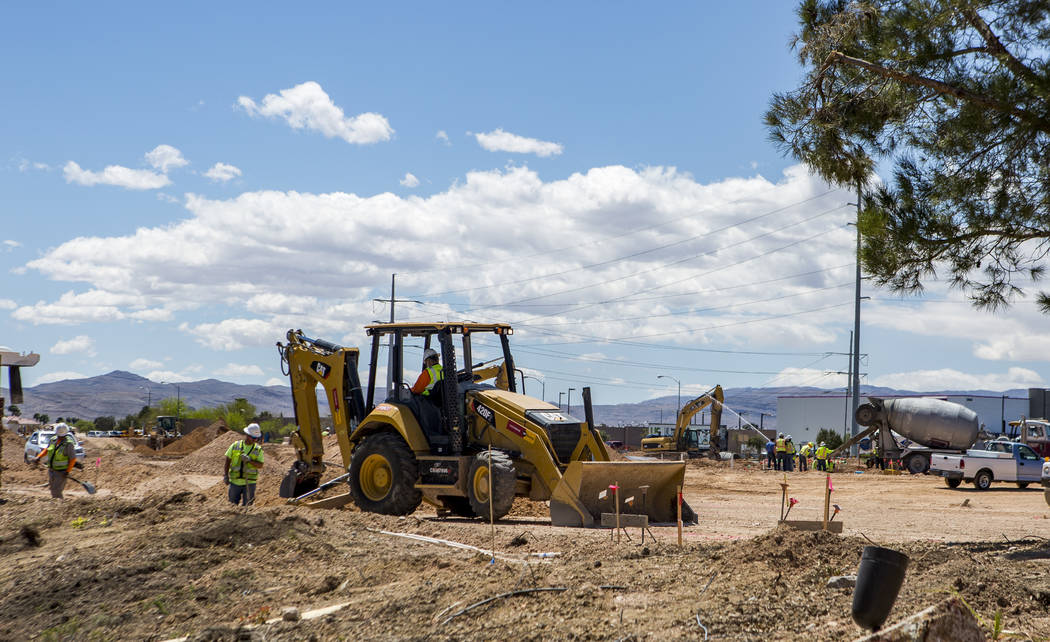 Construction workers at the site of Silverton Village, a $60 million retail and hotel project, near Silverton in Las Vegas on Tuesday, April 17, 2018. Patrick Connolly Las Vegas Review-Journal @ ...